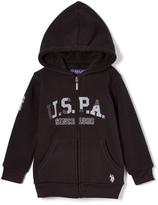 U.S. Polo Assn. Black 'USPA' Sherpa-Lined Zip-Up Fleece Hoodie - Boys