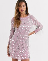 French Connection Baani sequined dress with fringe beading