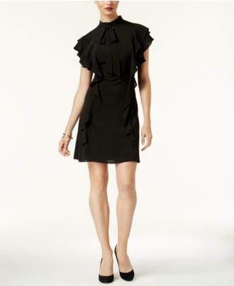 Julia Jordan Flutter-Sleeve Mock-Neck Dress