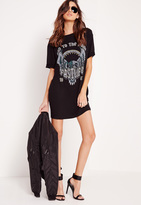 Missguided Printed Graphic Rock Oversized T-Shirt Black