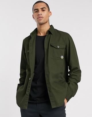 Barbour Beacon twill overshirt in khaki-Green