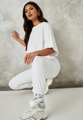 Missguided White Basic Joggers