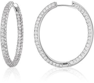Nm Diamond Collection Pave Diamond Hoop Earrings
