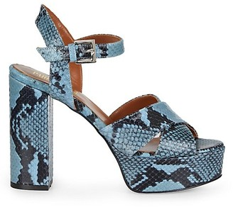 Paris Texas Python-Embossed Leather Platform Sandals