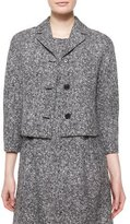 Michael Kors 3/4-Sleeve Tweed Jacket, Black/White