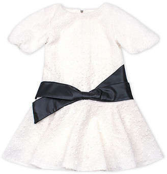 Biscotti Girls' Special Occasion Dresses WHITE - White Contrast-Sash Puff-Sleeve A-Line Dress - Girls