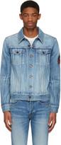Saint Laurent Blue Denim Military Patch Jacket