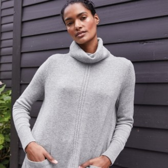 The White Company Funnel-Neck Cable-Trim Jumper, Mid Grey Marl, Extra Small