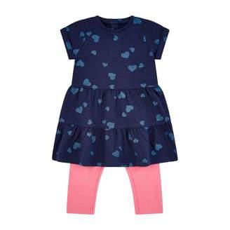 Mothercare Baby Girls' Flow MC61 Navy AOP Dress W/Legging Set Clothing