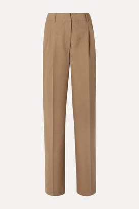 Casasola CASASOLA - Pleated Grain De Poudre Wool Straight-leg Pants - Camel