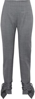 CARMEN MARCH Buckle-detailed Herringbone Wool Tapered Pants