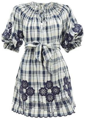Innika Choo Hanus Floral-embroidered Checked-linen Dress - Womens - Navy Multi