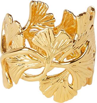 Aurelie Bidermann Tangerine Ginkgo Leaf Ring