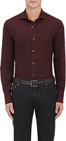 Ermenegildo Zegna Men's Birdseye Cotton Dress Shirt-BURGUNDY