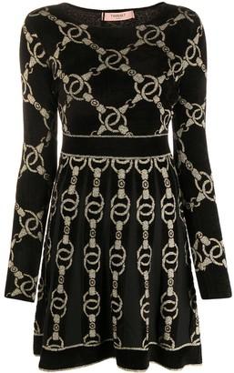 Twin-Set Chain Knit Skater Dress