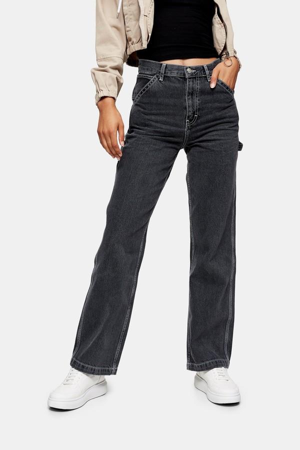 Topshop Womens Washed Black Carpenter Straight Jeans - Washed Black