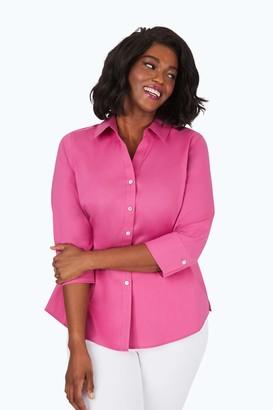 Foxcroft Women's Plus Size Mary Non-Iron Stretch 3/4 SLV. Shirt