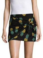 Saks Fifth Avenue Pineapple Cotton Wrap Mini Skirt