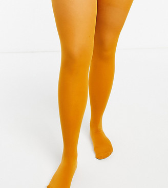 ASOS DESIGN Curve 50 denier tights in mustard