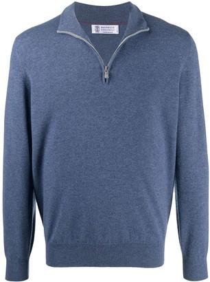 Brunello Cucinelli Short-Zip Knitted Jumper