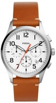 Fossil Men's Vintage 54 Chronograph Leather Strap Watch, 42Mm