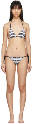Balmain Black and White Logo Stripe Triangle Bikini