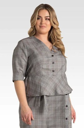 Standards & Practices Black And White Plaid Peplum Jacket Top Size 14