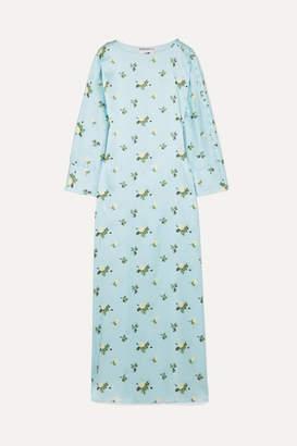Dakota Bernadette BERNADETTE Floral-print Stretch-silk Satin Maxi Dress - Blue