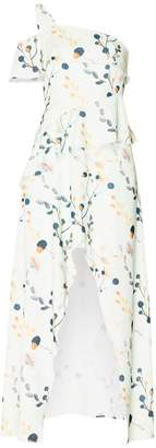Paisie One Shoulder Floral Dress With Waist Frills In Mint Floral