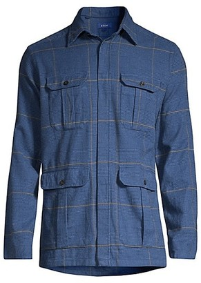 Eton Soft Casual Houndstooth Cotton Flannel Shirt Jacket