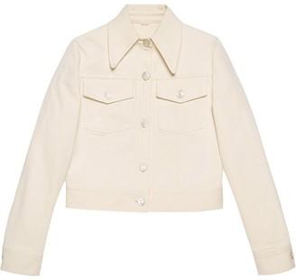 Gucci Logo-Patch Cropped Denim Jacket