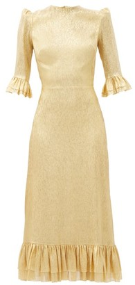 The Vampire's Wife The Falconetti Ruffled Metallic-chiffon Midi Dress - Gold