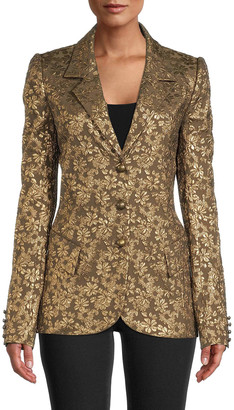 Nicole Miller Metallic Floral Jacquard Blazer