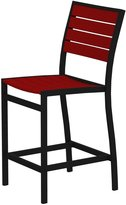 Polywood Poly Wood A101FABSR Euro Counter Height Side Chair - Black Aluminum Frame - Sunset Red