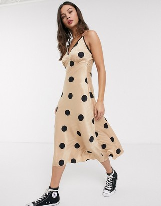 Moon River giant spot midi slip dress