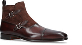 Magnanni Mix Material Buckle Boot In Mid Brown