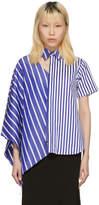 Facetasm Blue and White Striped Asymmetric Shirt
