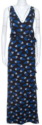 Diane von Furstenberg Black Printed Silk Sleeveless Theresa Dress L