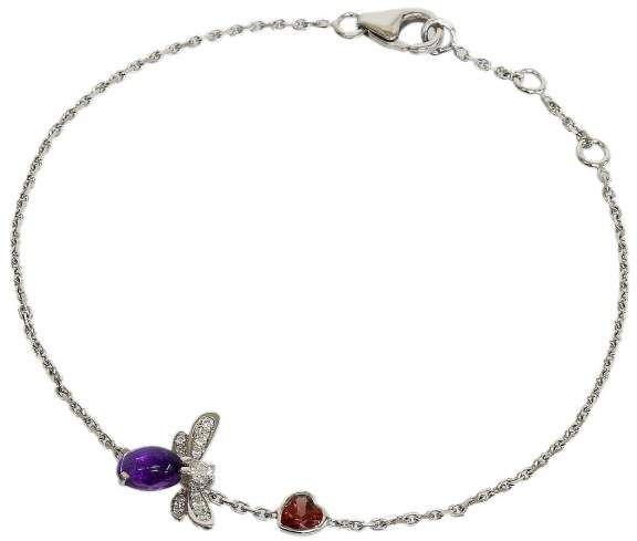 Chaumet 18K White Gold Amethyst & Diamond Chain Bracelet