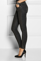Current/Elliott The Ankle Skinny coated low-rise jeans