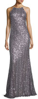 Badgley Mischka Sleeveless Sequin Cowl-Back Gown, Wisteria