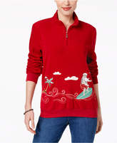 Alfred Dunner Embroidered Santa Holiday Fleece Sweatshirt