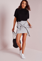 Missguided Tie Front Jersey Mini Skirt Grey