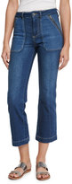 Rebecca Taylor Patchwork Flare-Leg Cropped Jeans, Denim Combo