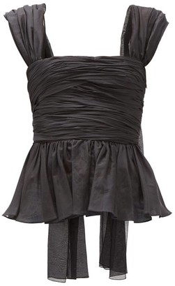 Brock Collection Ruched Cotton-blend Top - Black