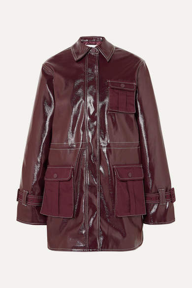 Ganni Canvas-paneled Faux Patent-leather Jacket - Burgundy