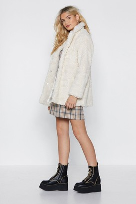 Nasty Gal Womens Just Fur You Faux Shearling Coat - white - L