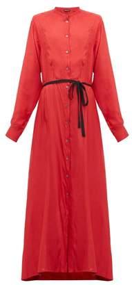 Ann Demeulemeester Ariana Belted Satin Maxi Shirtdress - Womens - Red