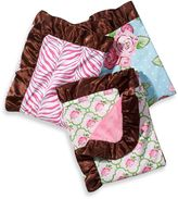 Caden Lane Girl Blanket with Decorative Trim in Pink/Green Rose