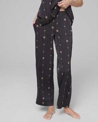 Stretch Satin with Cool Nights Trim Pajama Pants Gilded Geo Black